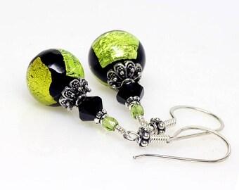 Green, Black, Venetian Murano Glass Earrings, Peridot, Lime, Murano Glass Earrings, Sterling Silver, Italian Artisan, Lampwork Earrings