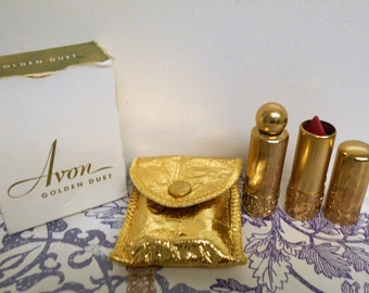 vintage 1940s Avon Golden Duet. Pink Triumph lipstick, Golden Promise perfume,  glamorous carrying pouch and box.