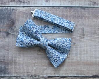 Men's Bowties. Liberty Bow ties. Blue floral Liberty bow tie, Blue floral bowties. Designer Liberty Bowtie. Wedding Bowtie. Floral Bowtie.