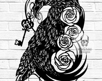 Raven New Home - Personal Use DIY Paper Cut Template Announcement Congratulations Can be Personalised Crow Roses Key Housewarming