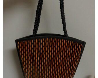 Vintage geometrical black/orange shoulderstrap bag
