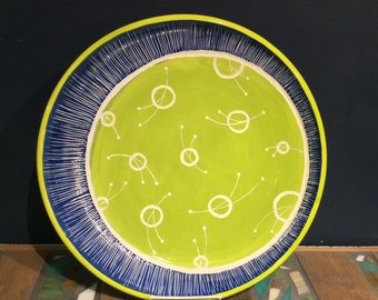Midcentury Modern Sgraffito Serving Platter in Chartreuse and Royal Blue