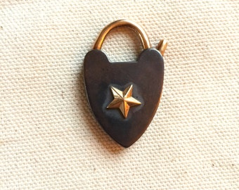 SILVER oxidized heart padlock with gold clasp and star