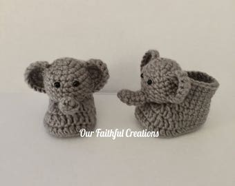 Crochet Elephant Slippers, Elephant Booties, Baby Animal Shoes, Baby Shoes, Safari Animal, Zoo Animal