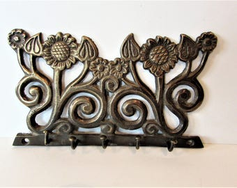 Vintage Brass Five Hook Wall Mount - Sunflowers.