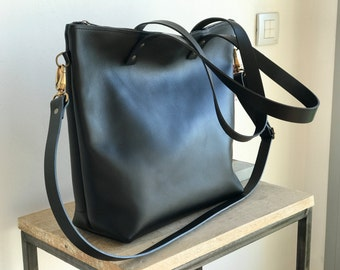 Large Black Leather bag with zip and removable Cross Body Strap. Handmade. Zipper. Minimalist leather bag.
