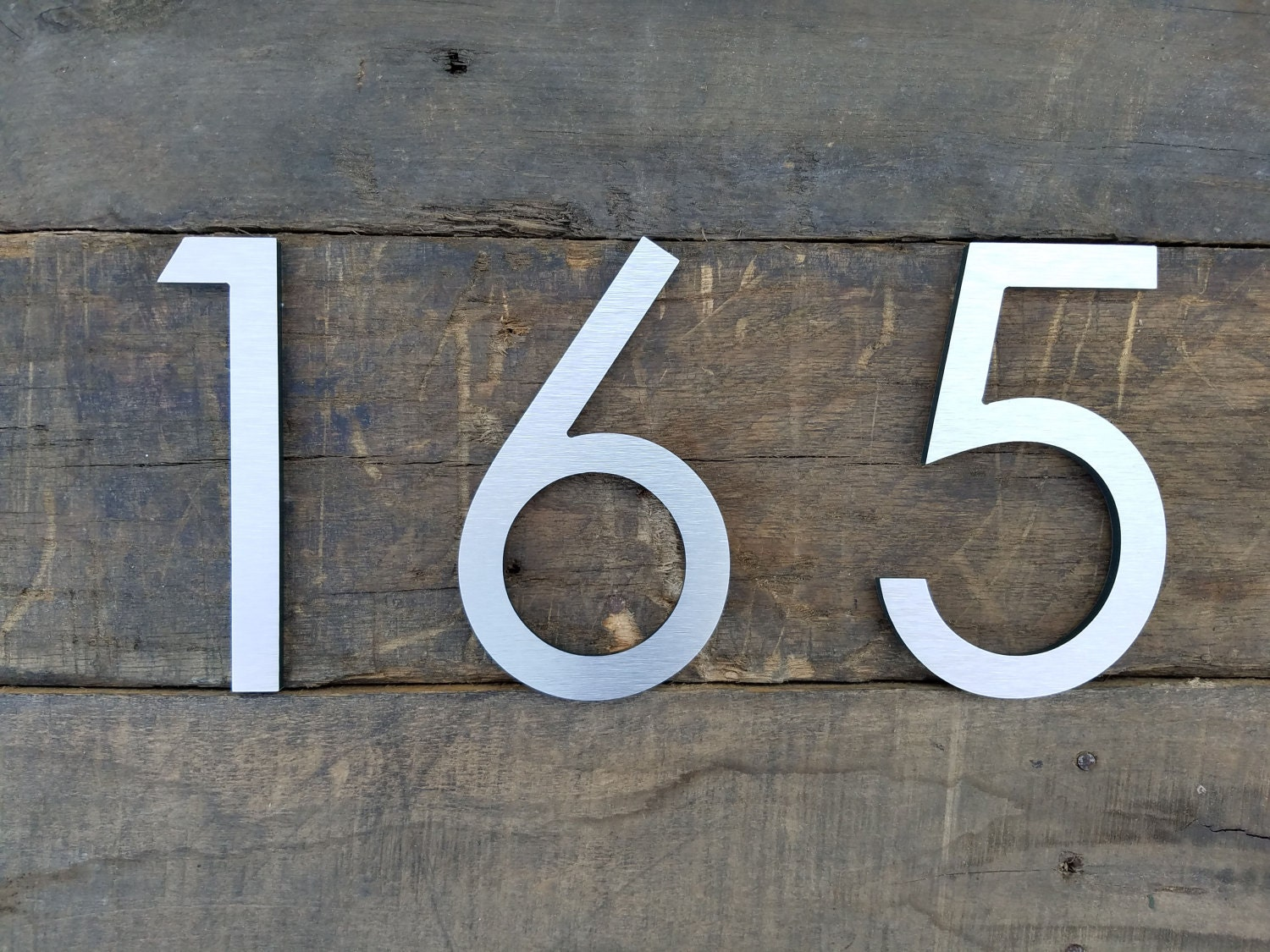 Modern House Numbers Brushed Aluminum Stud Mounted - Contemporary house numbers