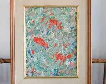 Vintage Signed Abstract Art - Multicolored Abstract 1960's Art - Signed Framed Original Art