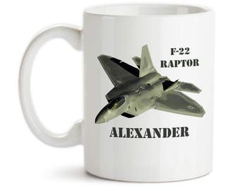 Coffee Mug, Personalized Monogram F-22 Raptor Jet Plane, Pilot, Military, Airforce, Masculine, Manly, Gift Idea, Large Coffee Cup