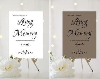 A4/A5 Printed Wedding Sign - Candle burns in loving memory...