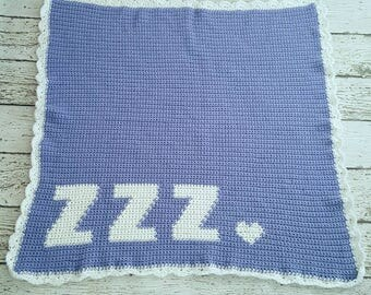 Baby blanket baby shower gift toddler blanket free shipping crochet baby blanket zzz heart Afghan ready to ship