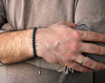 Hematite bracelet men, mens bracelet. Beaded bracelet men, gift for him, healing bracelet men. Hematite for him, hematite bracelet