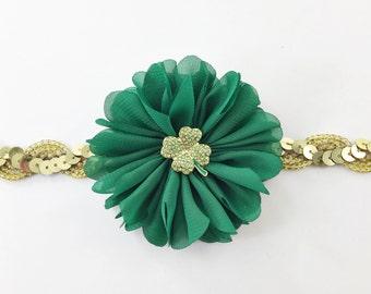 Green Baby Headband, Green and gold Headband, St Patrick's Day Headband, shamrock Headband, green flower headband, gold shamrock headband