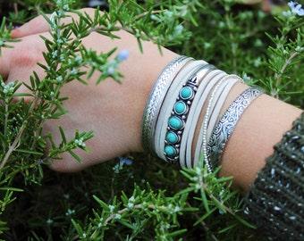Leather Bracelet. Natural Suede Bracelet. Layering Bracelet. Boho Jewelry. Bohemian. Festival Jewelry.