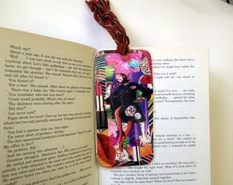 Romantic Bookmark/Fashionable Bookmark/Handcrafted with collage/Original Collage/Ideal gift for readers/BUY two get ONE more for FREE!