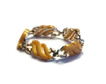 1950s Bracelet, Orange Moonglow Lucite Bracelet, Thermoset Bracelet, Costume Jewelry