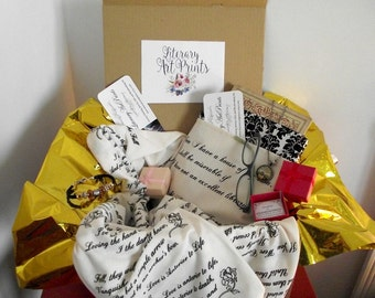 Literary Bookish Subscription Box One Time Box include One Literary Scarf Quote Pendant Necklace Jane Austen Book Sleeve Christmas Gift