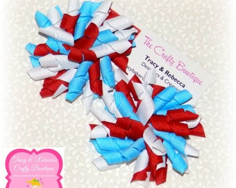 Dr. Suess Bow ~ Blue Korker Bow ~ Red Korker Bow ~ Large Dr. Suess Bow ~ Dr. Suess Headband Bow ~ Small Dr. Suess Bow ~ Red White & Blue Bow