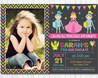 Princess And Knight Birthday Invitation, princess invite, Dragon Invitation, princess party, Photo Invitation , Chalkboard, Printable