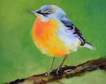 Impressionist Grey Wagtail Bird Painting, Yellow Grey Bird, Original Oil Painting 6x6 Inch
