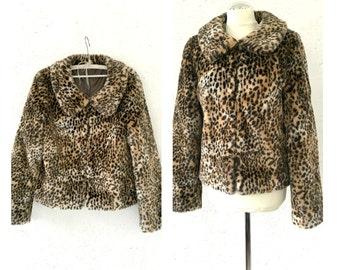 Faux fur coat M L * Leopard print coat * Vintage coat * 80s coat * Short coat * Cropped coat * Winter coat * Animal print winter coat