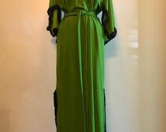 Vintage 70s Fringe Maxi Dress