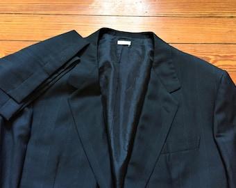 Vintage 90s Brioni Roman Style Dark Blue Pinstripe Two Piece Suit 50L 42x30