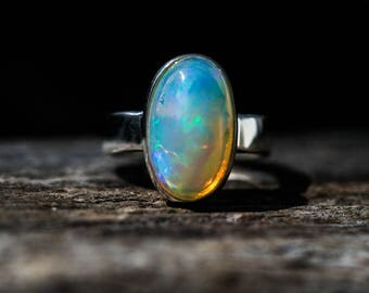 Opal Ring Size 7- Engagement Ring Alternative - Opal Ring - firey opal - Opal Ring - Ring size 7 - October Birthstone - Eithiopian Opal Ring