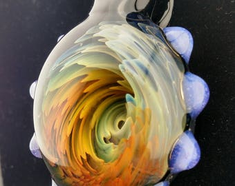 Silver and gold fumed deep vortex pendant