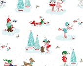 Discount Christmas Fabric, Pixie Noel, White, Aqua and Red, Bottle Brush Trees, Riley Blake, Cotton Quilting, Fat Quarter, Half, By The Yard