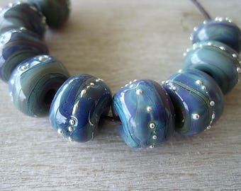 Glass Lampwork Bead set of 8 Blue Purple Reactive Glass Beads with Fine Silver
