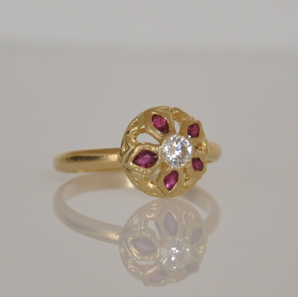 ruby flower ring unique ruby ring 14k gold ring 14k gold