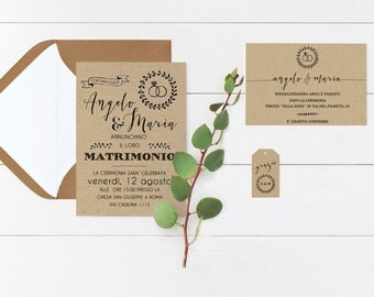 Wedding Invitation, Kraft Wedding Invitation Set, Wedding Paper Invitation Suite, Wedding Invites