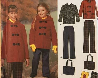 Simplicity Easy To Sew 5863 – Childs' and Girls Pants, Jacket, Scarf, Mittens and Bag – Size K5 7,8,10,12,14 – Uncut and FF