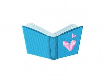 Blue Heart Book Machine Embroidery Design