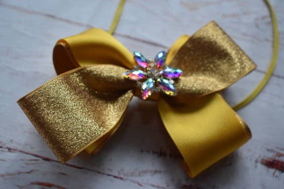 Gold and Yellow Special Occasion Bow - Baby / Toddler / Girls / Kids Headband / Hairband / Hair bow / Barrette / Hairclip