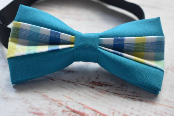 Turquoise Plaid / Gingham Bow Tie  for Baby, Toddlers and Boys (Kids Bow Ties) with Braces / Suspenders