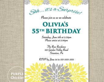 Surprise Birthday Party Invitation Teal Yellow Gray Flower Bursts Party Invite Milestone 75th 55th 60th Adult DIY Printable Invitation 337