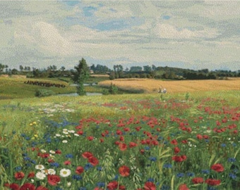 Field with Poppies and Daisies PDF Cross Stitch Pattern