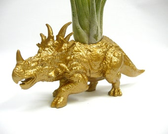 Gold Styracosaurus Dinosaur Planter with Air Plant // Coworker Gift // For Her // For Him