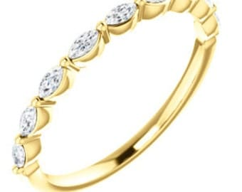 Marquise Anniversary Ring, White Sapphire 14K Gold Gemstone Wedding Band
