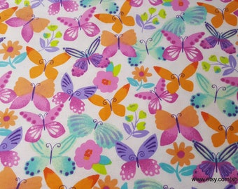 Flannel Fabric - Watercolor Butterflies on White - 1 yard - 100% Cotton Flannel