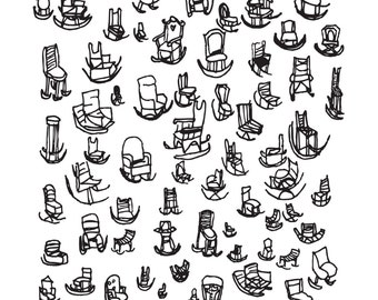 Rocking Chairs   Illustration   A4   Print   Doodle   Chairs  Drawings  