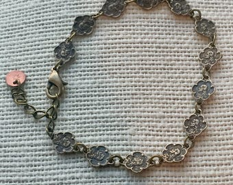 Tiny Scallop Religious Medal Link Cast from Antique Delicate Bracelet