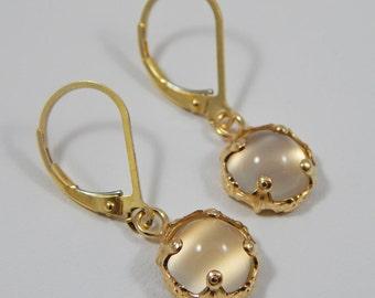 White Moonstone Earrings. Moonstone Leverback Earrings. Dangle Earrings. Prong Setting. Moonstone.
