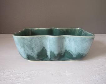 Vintage USA Planter / Drip Glaze Pottery / Green Ceramic Dish / Succulent Planter