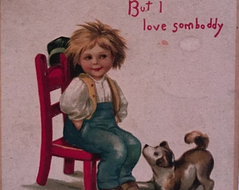 "Antique Embossed Ellen Clapsaddle ""To My Valentine"" Postcard with Image of Boy and Dog"