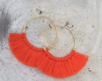 Tassel earrings orange hot orange  fringe earrings