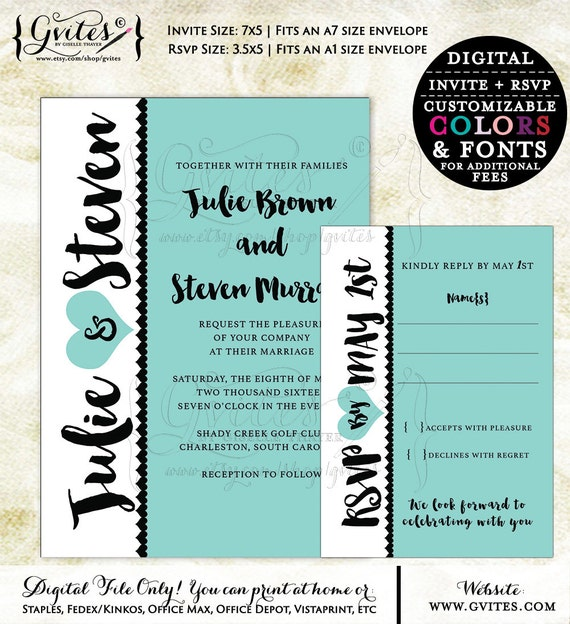 Turquoise blue wedding invitation set. Printable wedding, elegant digital templates, modern, elegant invites. {You Print} Gvites.