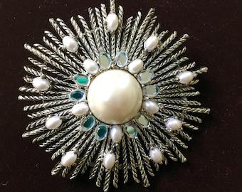 Vintage brooch Talbots NOS on card~ silver tone metal~pearls~rhinestones~ sunburst~costume jewelry~ 1980s from MilkweedVintageHome